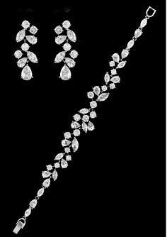 Multi Cut CZ Wedding Bracelet and Earrings in Silver, Gold, Rose Gold