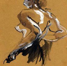 Corine Pagny (b. 1959, Saint-Pol Sur-Mer, France) - Nude 65258     Drawings: Ink