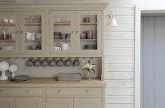 Neptune Suffolk Glazed Rack Dresser with neutral griege colour and tongue and groove shiplap panelling