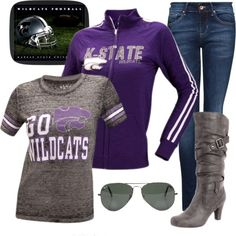 """Fall Vintage K-State Game Day Look"" by brittany-c-johnson on Polyvore"
