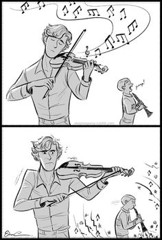 This should be John's comeback to Sherlock playing violin unless he enjoys it in which case johnlock Sherlock Bbc, Sherlock Fandom, Sherlock Comic, Johnlock, John Watson, Benedict Cumberbatch, Sherlock Cumberbatch, Detective, Mrs Hudson