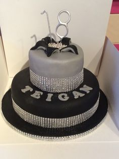 18th birthday cake black silver and bling theme                                                                                                                                                                                 More