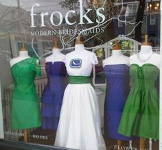 Check out our new Frocks window! The girls at Frocks love the Canucks and want to show our support - maybe the window will inspire a win! Types Of Dresses, Cute Dresses, Hockey Wedding, New Frock, Hockey Season, Hockey Teams, Ice Hockey, Vancouver Canucks, Bridesmaid Dresses