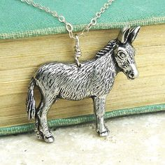 Antiqued Pewter and Antiqued Bronze Chain Necklace Pendant. Cute Donkey, Jewelry Tattoo, Animal Rings, Antique Pewter, Pet Accessories, Gift For Lover, Sterling Silver Necklaces, Jewelery, Bronze