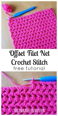 Easy Crochet Patterns Learn to crochet the Offset Filet Net stitch! This easy stitch is made entirely of chain and double crochet stitches, which makes it very beginner friendly. Great for your next wrap, shawl, scarf or cowl project! Crochet Afghans, Crochet Stitches Free, Stitch Crochet, Tunisian Crochet, Easy Crochet Patterns, Filet Crochet, Crochet Ideas, Crochet Stitches For Beginners, Easy Patterns