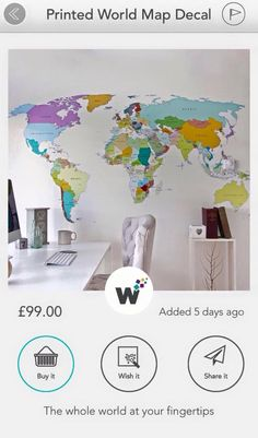 World map for wall - home or study. Just wish it on your wisher!