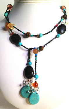 Lariat Wrap Turquoise Semi Precious Necklace Scarf Necklace turquoise and black by westhillstudiojewel on Etsy