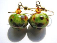 ~ Earthy Mixed Green & Brown Modern Style Earrings by BelladonnasJoy ~ Wild Savannah Lampwork Earrings are ~1 3/8 long, (3.4cm) from the top of