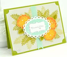 Floral Thank You Card by Nichole Heady for Papertrey Ink (August 2012)