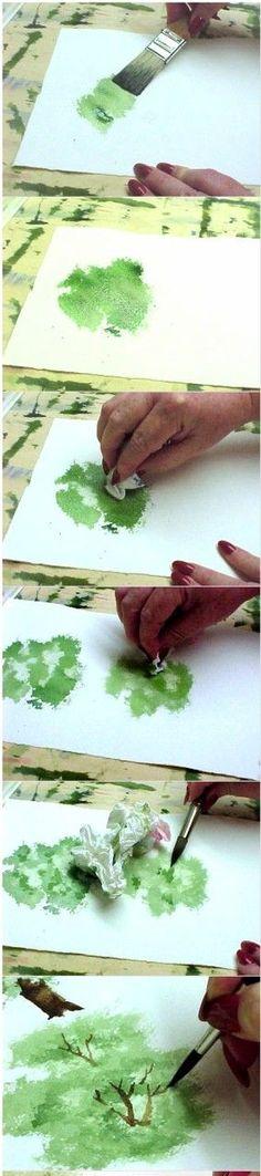 easy watercolor tree tutorial