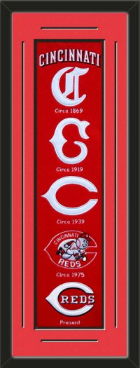 This framed Cincinnati Reds heritage banner, double matted in team colors to 12 x 36 inches.  The lines show the bottom mat color.  $139.99 @ ArtandMore.com