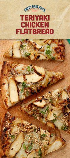 A sweet new teriyaki twist on a classic flatbread recipe. Flatbread Pizza Recipes, Chicken Flatbread, Flatbread Appetizers, Chicken Pizza, Breaded Chicken, Teriyaki Chicken, Cooking Recipes, Healthy Recipes, Weeknight Recipes