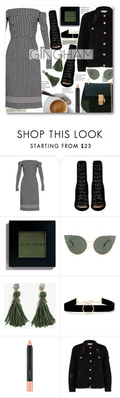 """Gingham Off The Shoulder Dress And Green Accessories"" by voguefashion101 ❤ liked on Polyvore featuring Preen, Barbara Bui, Bobbi Brown Cosmetics, Fendi, Ann Taylor, Anissa Kermiche, MAC Cosmetics, River Island and Chloé"