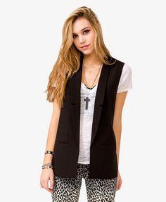 Black Long Open-Front Vest | 2026390148 (Forever 21) $24.80