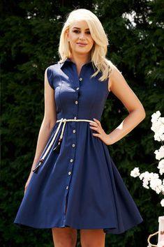 Rochie albastru-inchis casual de zi in clos midi cu guler si snur in talie fara maneci Mini Skirts, Plus Size, Interior, Casual, Shopping, Dresses, Fashion, Rhinestones, Gowns