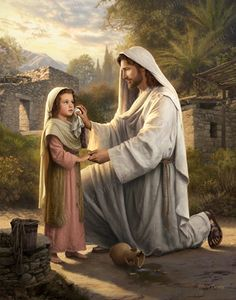 Picture of Christ Comforting a Little Crying Girl | Simon Dewey - My heart hurts for all of the children who've been lost in the past decade alone, to school violence, to abuse, or other atrocities. This is my reminder...He is there to Wipe Away Every Tear.