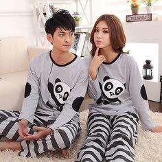 Women Mens Robe Couples Sleepwear Pajama Sets Cotton blend Cute Bear Long Sleeve