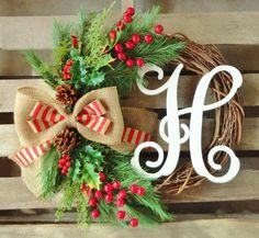 Christmas WreathMonogram WreathGrapevine by TheLeoAndTheTaurus