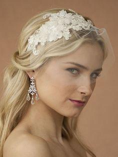 Handmade Wedding Headband with Ivory European Lace Applique & Petite Veil