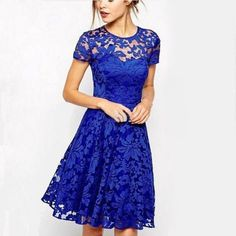 Women Floral Lace Dress Short Sleeve Party Casual Color Blue Red Black Mini Dress