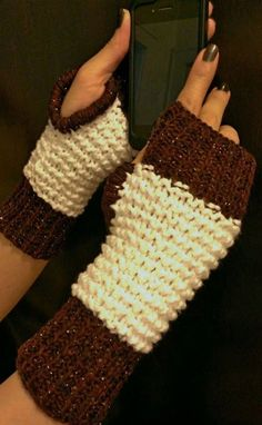 Brown Rose & White Fingerless Gloves Wrist Warmers by NadiasKnits, $25.00