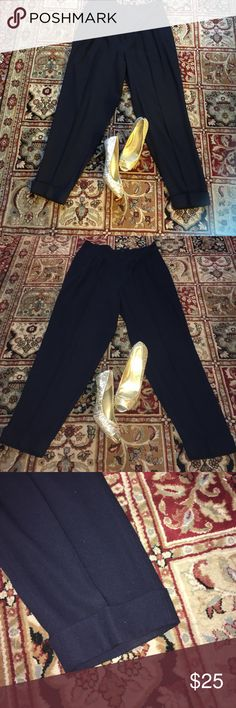 DKNY Navy Pants Pre-Owned DKNY Navy Blue Cuffed Wide Leg Pants, Two Side Pockets, One Small In Front Of Pants Pocket, And Three Buttons.. DKNY Pants
