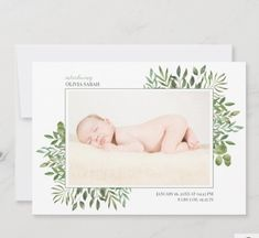 Greenery Watercolor Photo Collage Newborn Birth Announcement Greenery Watercolor Photo Collage Newborn Birth Announcement is a modern design with one photo on the front side along with the baby's name and birth stats and a three photo collage on the back with a welcome message. The two sides are decorated with lush green foliage hand-drawn in watercolor Newborn Birth Announcements, Baby Girl Birth Announcement, Birth Announcement Photos, Baby Girl Photos, Lush Green, Baby Girl Newborn, First Photo, Baby Names, Hand Drawn