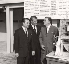 Governor George Wallace, Dr. Wernher von Braun, and Dr. James E. Webb examining a model at Marshall Space Flight Center in Huntsville, Alabama. :: Alabama Photographs and Pictures Collection
