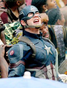 "Chris Evans on the set of ""Captain America: Civil War,"" May 15, 2015."