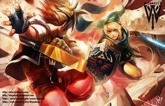 Sora vs Link - Kingdom Hearts & Legend of Zelda Crossover - impression numérique 11 x 17