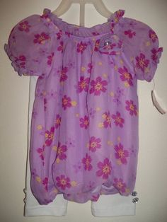 New girls size 3T white leggings with purple floral top toddler blouse and pants
