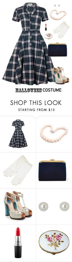 """""""50's Housewife"""" by stacy-hardy ❤ liked on Polyvore featuring Collectif, Hiho Silver, Balmain, Fendi, Givenchy, MAC Cosmetics, halloweencostume and DIYHalloween"""