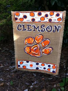 Clemson Tigers Hand Painted Whimsical Abstract Burlap Garden Flag by aDOORnaments on Etsy