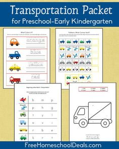 Free Transportation-Themed Printable Packet for Prek/Early K