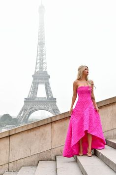 pink gown and fur coat in Paris at Eiffel Tower