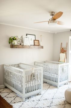 Neutral twin nursery - Boy Girl Twin Nursery - Gray and Natural Nursery - Photography by Ashley Upchurch Photography