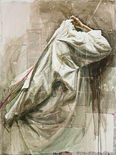Safet Zec, (Bosnian artist, Camicia V, Amazing rendering of a man dressing. Matte Painting, Fabric Painting, Painting & Drawing, Watercolor Paintings, Drapery Drawing, Ecole Art, Rembrandt, Figure Drawing, Figurative Art