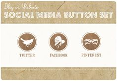 Custom Color  3 Blog or Website VINTAGE KRAFT by StarlingMemory, $15.00 Social Media Buttons, Portfolio Design, Creative Business, Projects To Try, Web Design, Place Card Holders, Kraft Paper, Website, Retro