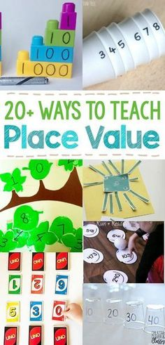 Teach place value, numbers, decimals, and greater than/less than with these hands on elementary math activities! Use printables, manipulatives, and more!