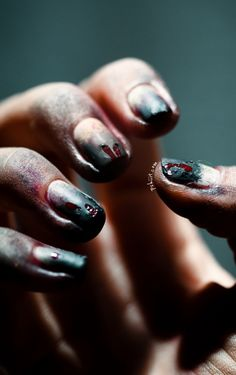 Zombie nails #nailart #halloween