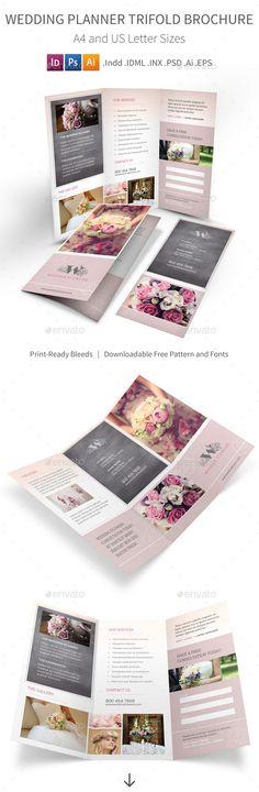 Wedding Planner Trifold Brochure PSD Template • Download ➝ https://graphicriver.net/item/wedding-planner-trifold-brochure/17105373?ref=pxcr