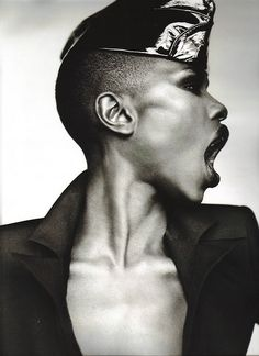 Grace Jones. I love her music and I love her audacious and dramatic sense of style - even though it's quite far from what I'd feel comfortable in!