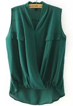 To find out about the Green V Neck Cross Front Dip Hem Blouse at SHEIN, part of our latest Blouses ready to shop online today! Fashion Advice, Fashion Outfits, Modern Tops, Look Plus Size, Elegant Dresses, Sleeveless Blouse, Chiffon Tops, Clothes For Women, Collar Top
