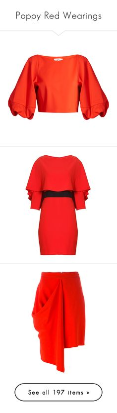 """""""Poppy Red Wearings"""" by giovanina-001 ❤ liked on Polyvore featuring tops, crop top, v neck crop top, 3/4 length sleeve tops, red crop top, loose fitting tops, dresses, tight red dress, slimming cocktail dresses and slim fit dress"""