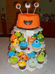 "Monster Anyone 6"" MONSTER SMASH CAKE WITH LITTLE MONSTER CUPCAKES Monster First Birthday, Monster 1st Birthdays, Baby Boy 1st Birthday, Monster Birthday Cakes, Monster Birthday Parties, Birthday Cupcakes, Kid Birthdays, Monster Smash Cakes, Cake Smash"