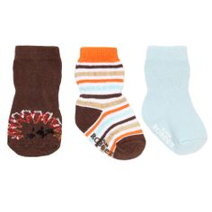 Robeez Socks: Lion 3 Pack (Brown) Look for the Matching Curious Lion Soft Soles