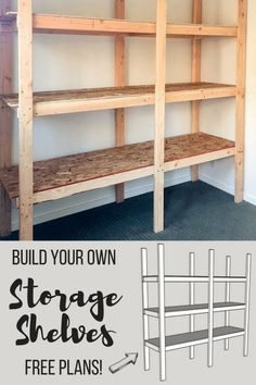So bauen Sie Lagerregale für weniger als 75 US-Dollar Learn how to build your own storage shelves with free woodworking plans from The Handyman's Daughter! These sturdy shelves are easy to make with and sheets of cheap plywood. These shelves can hold Shed Shelving, Wooden Shelving Units, Diy Storage Shelves, Build Shelves, Kitchen Storage, Kitchen Shelves, Storage Racks, Basement Shelving, Cheap Shelves Diy