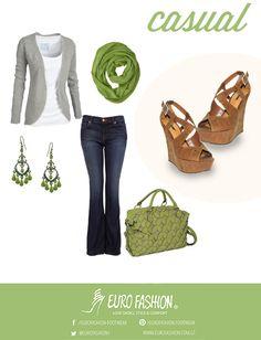 Outfit casual y cómodo, que combinan perfecto con unos zapatos de la línea Eurofashion.