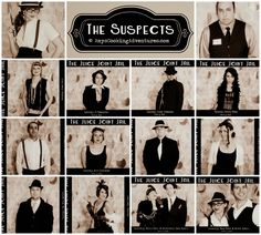 Have a Murder Mystery mug shoot: Use a polaroid camara Roaring 20s Birthday Party, Roaring 20s Theme, Gatsby Themed Party, Roaring Twenties Party, Mafia Party, Mystery Dinner Party, Murder Mystery Parties, Dinner Party Games, Gangster Party