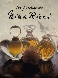 Parfums de Nina Ricci - Flacons de Lalique - L'air du temps, Capricci, Farouche.